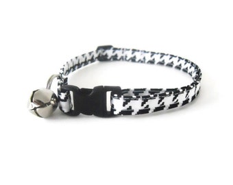 Black and White Houndstooth Cat Collar, Houndstooth Dog Collar, Black Dog Collar, Black Cat Collar