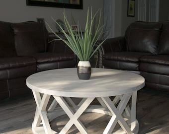 "36"" rustic x brace coffee table"