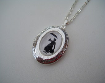Mary Poppins Silhouette Silver Locket Necklace