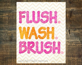 wash brush flush sign, kids bathroom decor, pink, orange, bathroom rules sign, wash sign, flush sign, kids bath art, print sale items