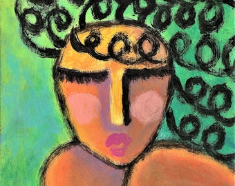 Woman with Curly Black Hair Hand Painted Ceramic Art Tile