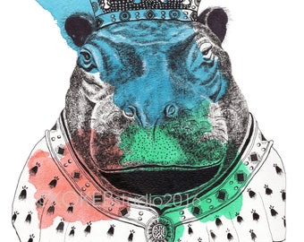 HIPPOPOTAMUS - whimsical art, nursery decor, animal alphabet, zoo animal