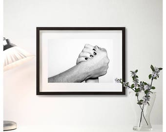 Framed photos, braided hands, furniture photos, black and white photography