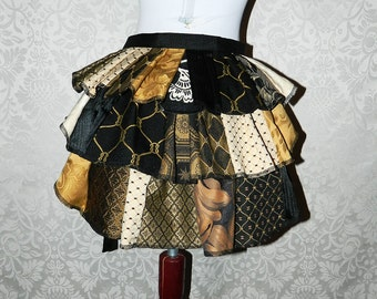 Custom Made Patchwork Ruffle Bustle Overskirt - 3 Layer, Sz. XS - Your Choice of Colors