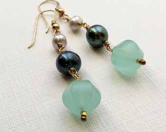 Grey and Black Pearls Seafoam Chalcedony Gold Earrings