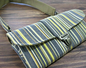 Women's Wallet, Smartphone iPhone Wallet, Clutch, Purse, Accordion, Yellow Wallet with Stripes- Ready to Ship