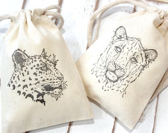 Wild Animal Zoo Muslin Favor Bags 4x6  -  Set of 10