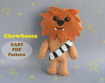 Chewbacca felt doll pattern  Chewbacca ornament PDF Pattern  Chewbacca plush sewing pattern PDF inspired star wars Softie sewing tutorial