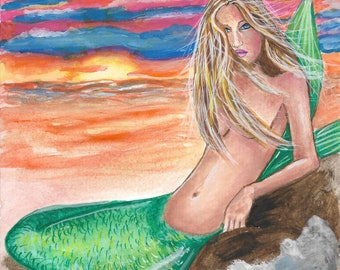 Original Gouache Fantasy Art Mermaid at Sunset painting by Laurie Leigh