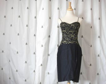 Vintage Black and Gold Metallic Dress, Lace Bodice, Silk Shantung Skirt, Spaghetti Straps, 1980s, Fitted, Wrap Skirt, Size Small