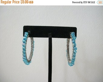 ON SALE Silver Tone Baby Blue Beaded Big Hoop Earrings 393