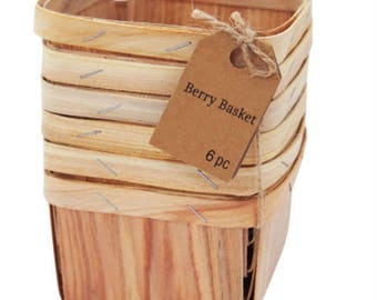 Natural Wood Berry Baskets Set of Six