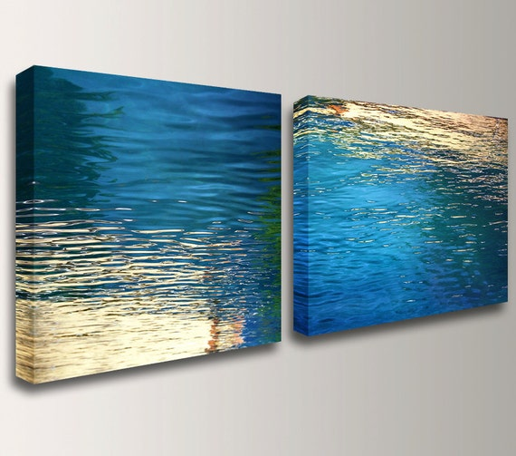 "Canvas Art, Nautical Wall Art, Beach - Modern, Abstract, Blue and Gold, Coastal Photography, Wall Decor, ""Beckon"""