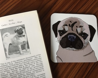 Pug coaster. Digital art. Dog coasters. Pug owner gift. Dog gift. Pug love. Pug lover gift