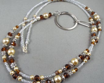 """Beaded breakaway lanyard brown and beige glass pearls and crystal 32"""" to 46""""  ID badge holder with magnetic or toggle clasp  ,unique fashion"""