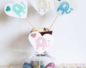 Baby Shower Cupcake Toppers  Elephant, Jumbo Hearts, Party Supplies, Party Accessories, Set of 12 Toppers