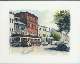 8.5x11 original watercolor of Georgetown street