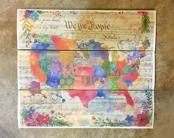 Floral US Map Wooden Wall Decor, United States decor, US Map decor, Americana, Wooden Wall Art, Wood Wall Decor, Wooden Wall Decor, Map