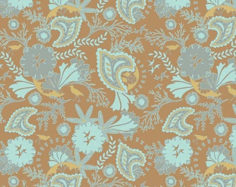 Brown & Aqua Floral Fabric, Chatsworth, Riley Blake C4801 Floral Brown, Floral Quilt Fabric, Shabby Fabric, Cottage Chic Fabric, Cotton