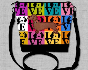 Dachshund Cross Body Bag with Appliqued Red/Brown Smooth Hair Dachshund  - Made to Order