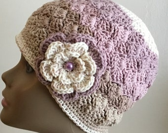 Women's crochet hat, summer / spring, COTTON/ACRYLIC,  chemo hat, Self striping, mauve/lavender/ecru,removable flower, Ready to ship.  S99