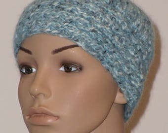 Knitted hat with braid trim in light blue with grey and white