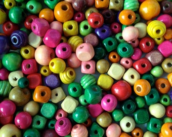 50+ Wooden Beads Assorted Colors & Sizes
