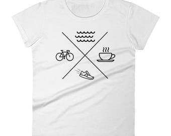 Swim Bike Run Coffee Triathlon Women's short sleeve t-shirt