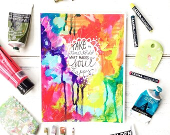 "Inspirational Art - ""Happy Soul"" - 8.5x11 Print"