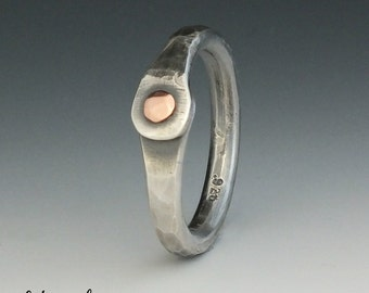 Silver Thumb Ring, Silver Ring, Mixed Metal Ring, Sterling Silver, Copper,  Metalsmith Jewelry, Handmade, Organic Style