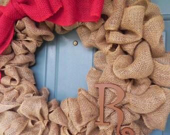 Burlap Wreath With Large Burlap Bow and Monogram Letter - X-Large 25 inch - Tan Burlap Wreath