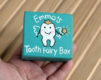 Tooth fairy box, tooth box,personalized wooden box, custom keepsake box,tooth fairy jar,loose tooth pillow,First Tooth memory box hand paint