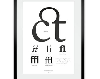 Ligatures Letterpress Typography Print
