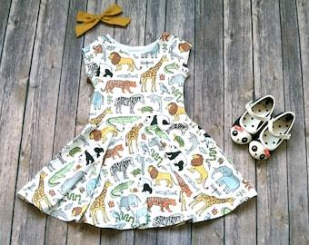 Zoo Dress - Safari Dress - Kid Safari Dress - Toddler Dress - Girls Dress - Toddler Twirl Dress - Baby Dress - Play Dress - Zoo Party Dress