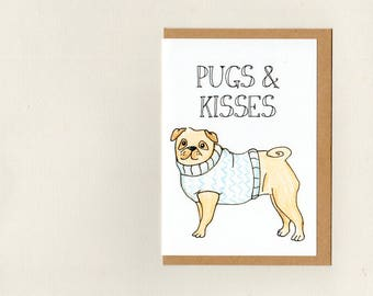 PUGS & KISSES . greeting card . fawn pug illustration . blue white . love friendship valentines anniversary get well thank you . australia