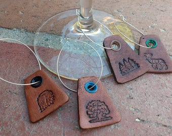 Leather Wine Glass Tags - Outdoorsman