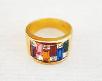Vintage Ring, Size 8, Electroplated 18K Gold Band with Colorful Retangle Rhinestones, Emerald Cut Cubic Zircon