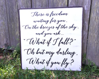 Fixer Upper Inspired Signs,What if I fall sign,26x26 Rustic Wood Signs, Farmhouse Signs, Wall Décor
