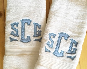 Monogram Applique Terry Cloth Hand Towel / Guest Towel