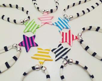 "Colourful Stripe Star Necklace ' ""Star-crossed"""