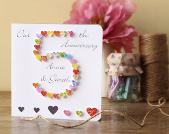 Pink and red color handmade anniversary cards for love trendy