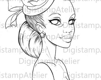 Hat Lady. Little mermaid. INSTANT DOWNLOAD Digital Digi Stamps.