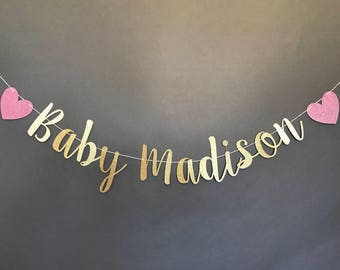 BABY NAME BANNER, baby name sign, baby shower decor, baby shower decorations, glitter baby name, glitter banner, baby shower sign, custom