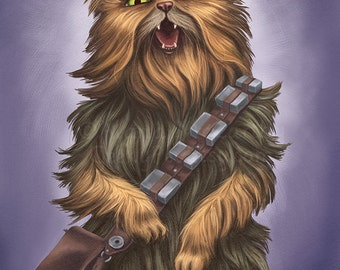 Chewbacca Cat - 8x10 art print - Star Wars Chewbacca Cat yelling persian wookie