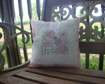 Hand Embroidery Flower Pillow