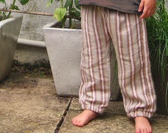 stripe city pant - modern childrens trousers - ultra soft linen summer pants - 2-5 years - natural red