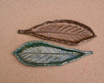 Ceramic leaf spoon rest, handmade loquat leaf dish, Antic gold Candy tray, Jewelry holder, Stoneware leaf, Greenery
