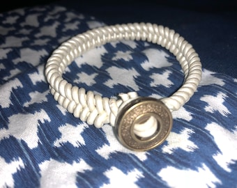 White Leather Cording Diffuser Bracelet