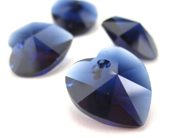 4 Crystal Heart Pendants, Dark Indigo 14mm, Swarovski 6228, Navy Blue