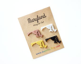 Maryland Map Magnets.  Fun sparkle magnets in Gold, Silver, Rose Gold and Black.  Perfect Stocking Stuffer.  MD Gift.